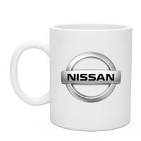 Чашка керамическая белого цвета логотип  Nissan
