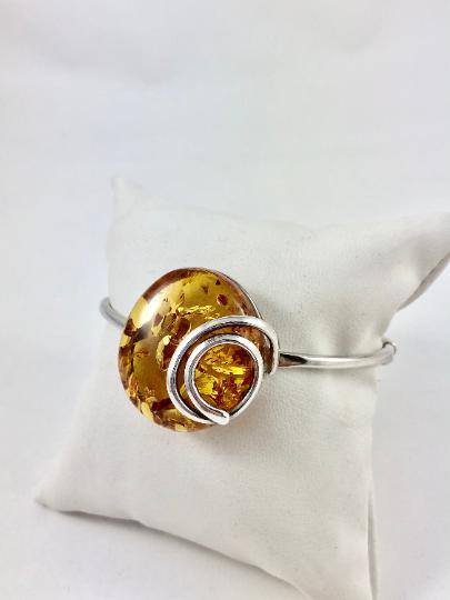 Браслет серебряный с янтарем 1057BRC2-k