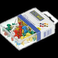 Кнопкигвоздики кольорові 50 шт в пласткоробке