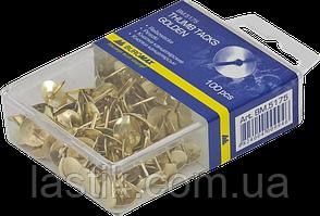 Кнопки золотистые 100 шт в пласт коробке