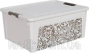 /Контейнер Smart Box с декором Home  79л белая роза/какао