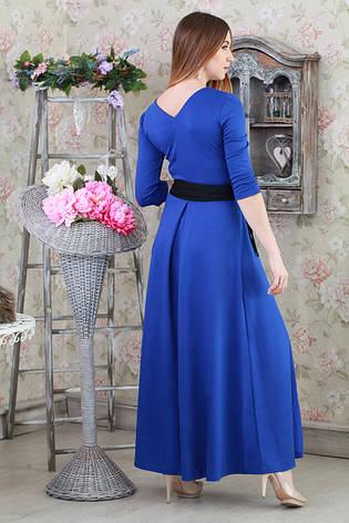 Шикарное длинное трикотажное платье с поясом Шарлотта-2, цвет горчица., фото 2