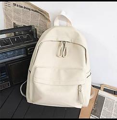 Рюкзак женский бежевый большой из кожзама.