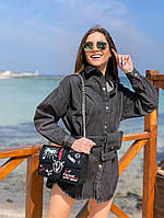 Женская стильная джинсовая рубашка с сумкой на поясе, фото 1