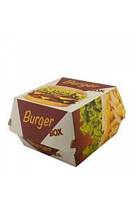 Коробка бумажная под бургер высокая Big Size 130*130*100 мм. со стандартным дизайном