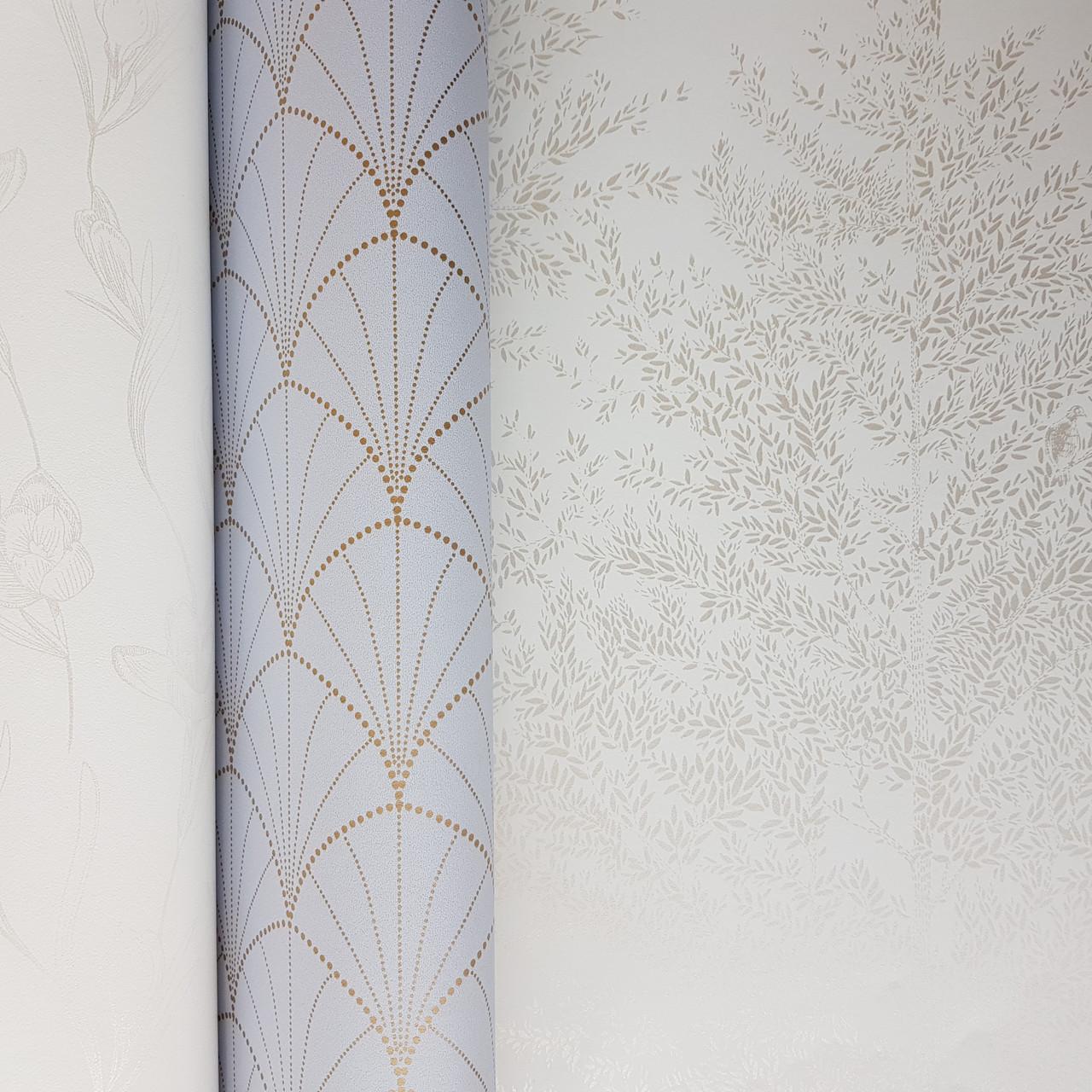 Шпалери вінілові на флізелін Caselio The Place to bed 0.53х10 м природа дерева гілки сріблясті на білому