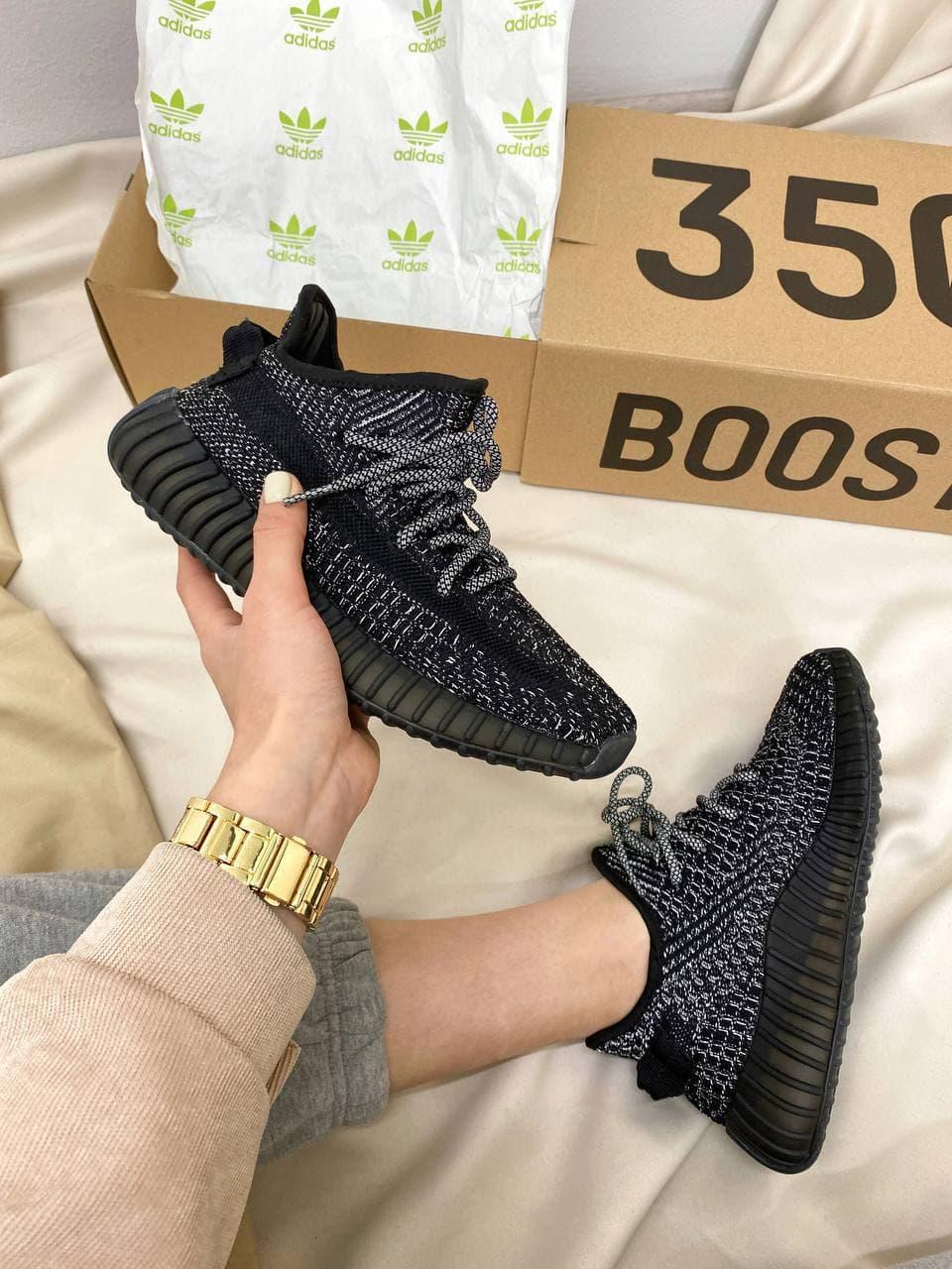 Мужские кроссовки Yeezy Boost 350 Black/White*(Full ref)