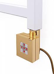 Золотой квадратный ТЭН TERMA KTX2 gold: регулировка 30-60С + таймер 2ч. +LED, для полотенцесушителя: 120-1000W