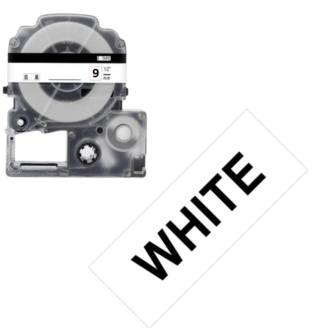 Лента для принтера этикеток Epson LabelWorks LK3WBW Strng adh Blk/Wht 9/8 (C53S653007)