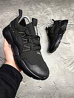 Чёрные мужские кроссовки в сетку Puma   сетка/кожа + полиуретан, фото 1