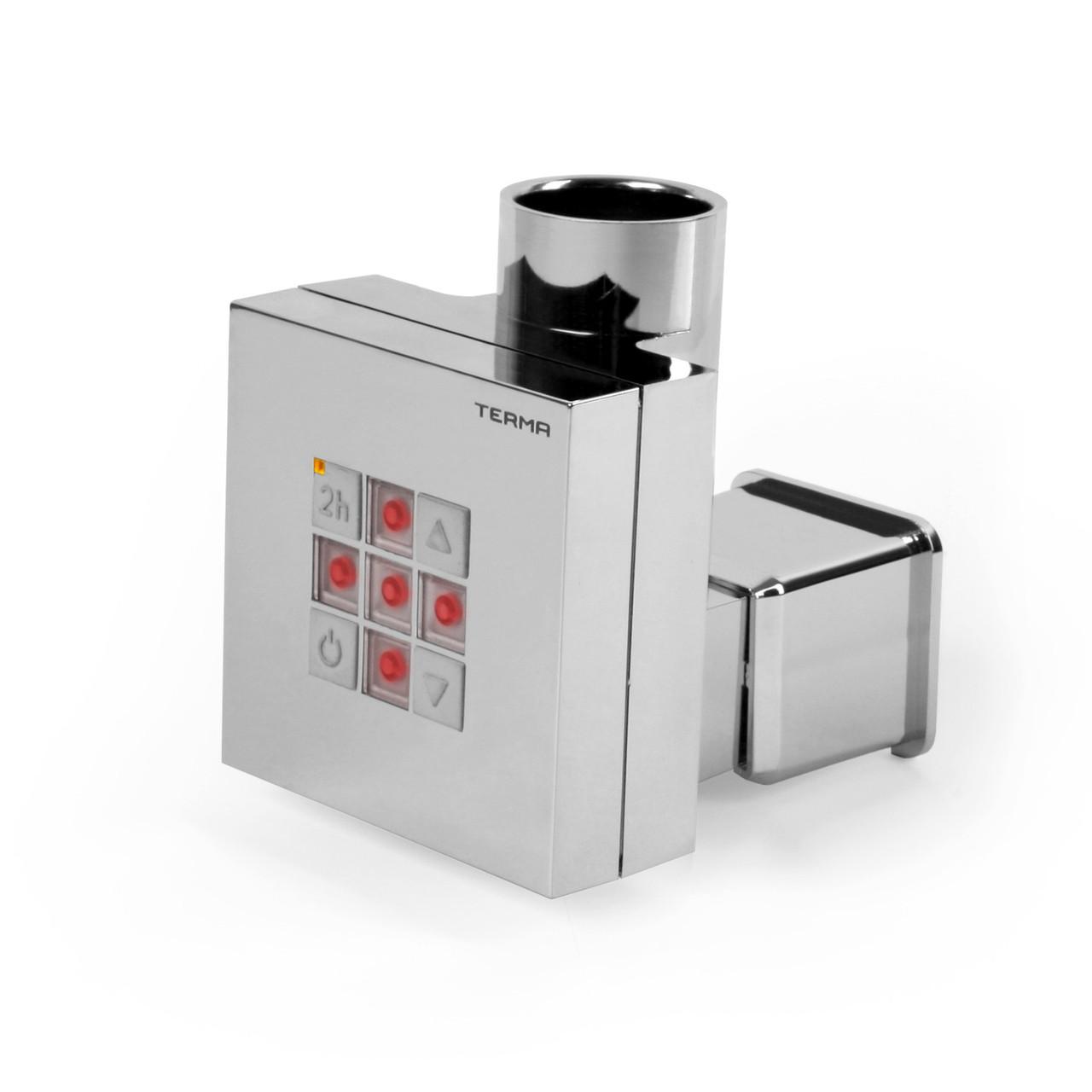 Квадратный электроТЭН KTX2 MS chrome с регулятором + таймер 2 ч. Маскировка провода. Для сушилок в ванную