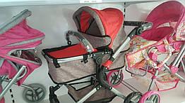 Коляска трансформер детская для кукол Melogo 9633 Red красная с серым, для льяльки, куклы
