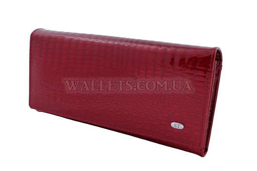 Женский кожаный кошелек ST, красный лак
