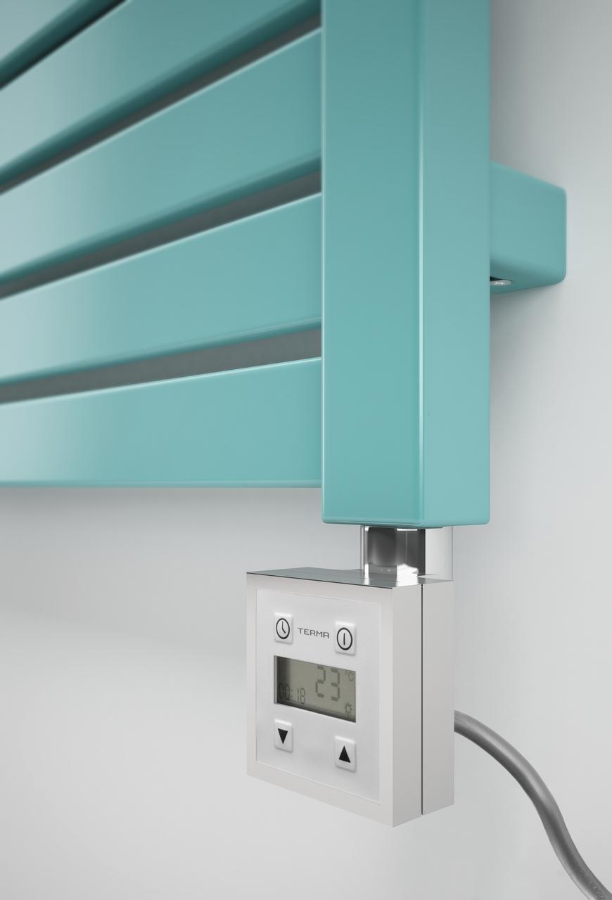 Квадратный электроТЭН TERMA KTX3 chrome с экраном LCD + регулятор 30-60С + таймер 24 ч.; в полотенцесушитель