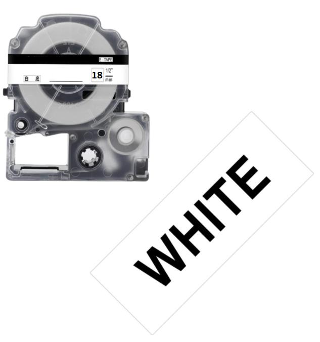 Лента для принтера этикеток Epson LabelWorks LK5WBW Strng adh Blk/Wht 18/8 (C53S655012)