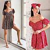 Р 42-48 Летнее платье с открытыми плечами в цветочный принт с повязкой на голову 23773