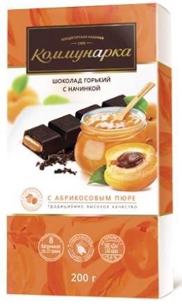 Белорусский шоколад Коммунарка горький с начинкой из абрикосового пюре 200 грамм