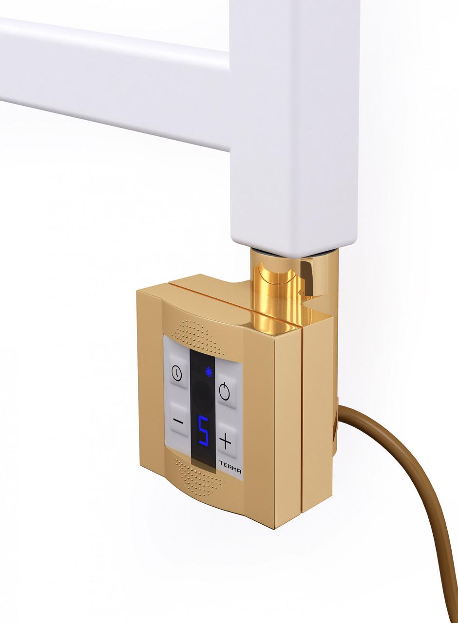 Квадратный золотой ТЭН TERMA KTX4 Gold: экран +управление 30-60С +таймер 1-4ч. Под пульт ДУ; Мощност 120-1000W