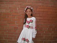 Детская заготовка платья на девочку 14-01 с поясом (габардин, белый)