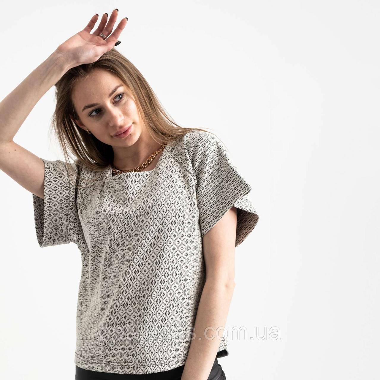 60143 City блузка жіноча чорно-біла трикотажна з візерунком (40-46, 6 од.)