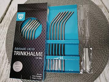 Металлические эко трубочки Gräwe для напитков 12 шт. (изогнутые) щетки 2 шт.
