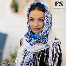 Белый павлопосадский шерстяной платок Лилия, фото 3