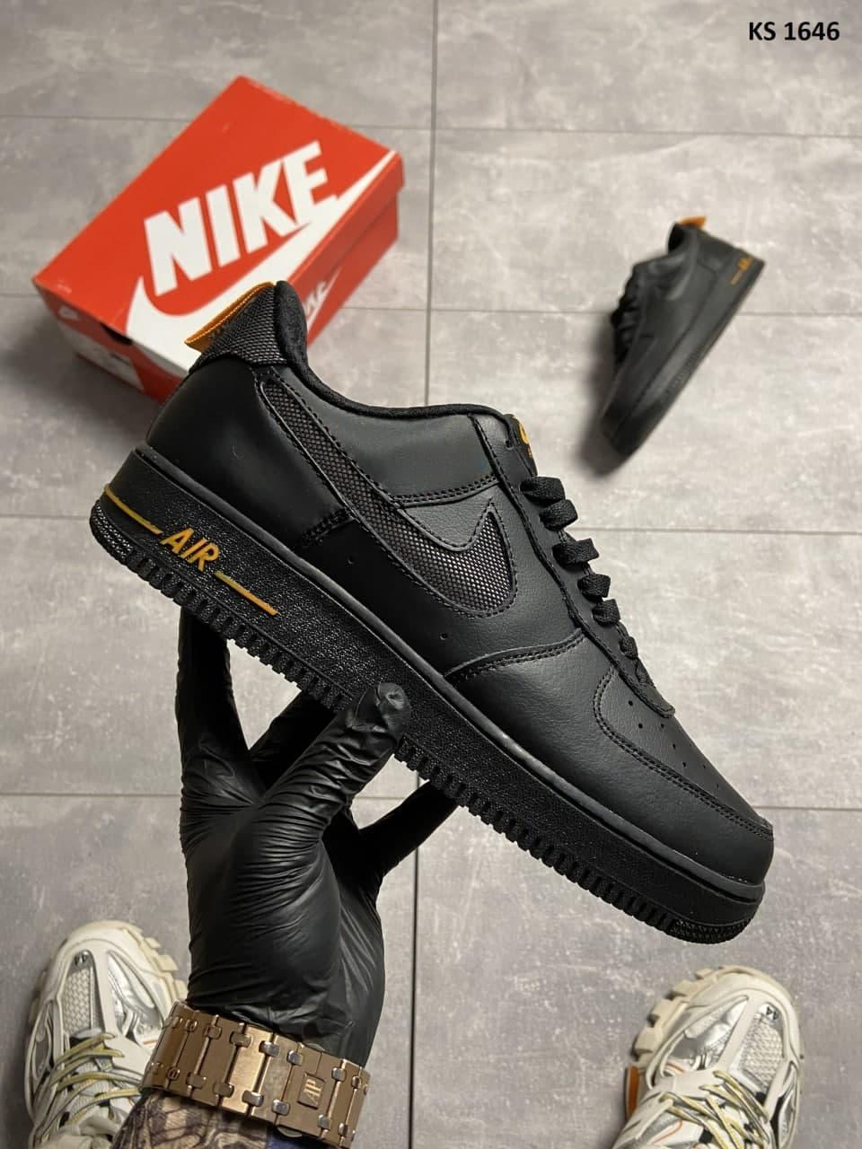 Мужские кроссовки Nike Air Force 1 Low Black Orange (черные) спортивная стильная обувь KS 1646