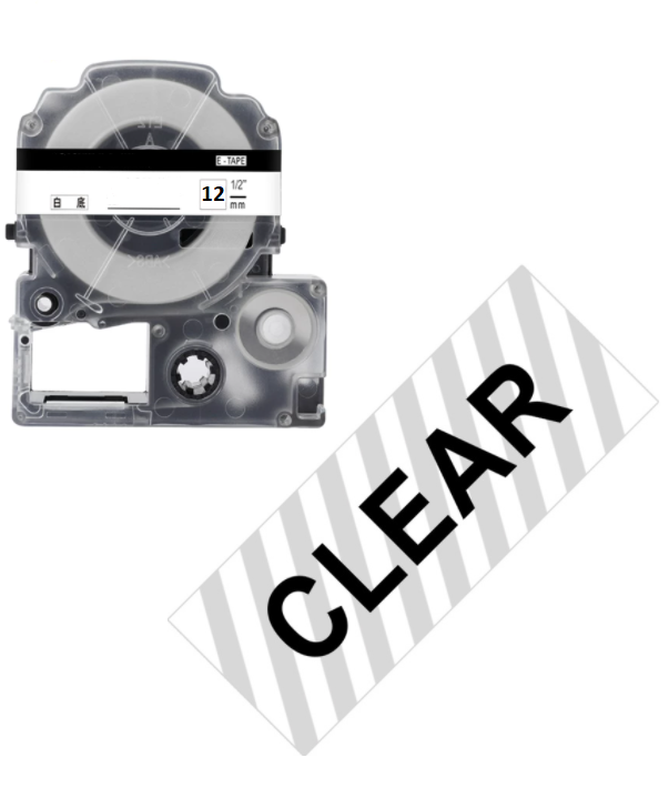 Лента для принтера этикеток Epson LabelWorks LK4TBW Strng adh Blk/Clear 12/8 (C53S654015)