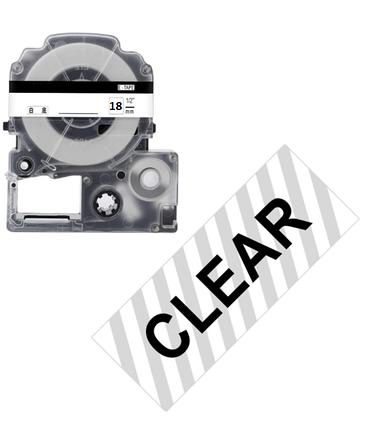 Лента для принтера этикеток Epson LabelWorks LK5TBN Clear Blk/Clear 18/8 (C53S655008), фото 2
