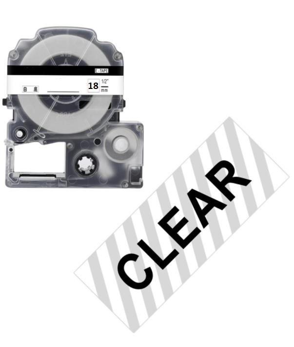 Лента для принтера этикеток Epson LabelWorks LK5TBW Strng adh Blk/Clear 18/8 (C53S655011)