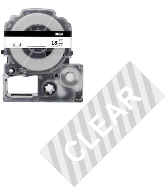 Лента для принтера этикеток Epson LabelWorks LK5TWN Clear White/Clear 18/8 (C53S655009)