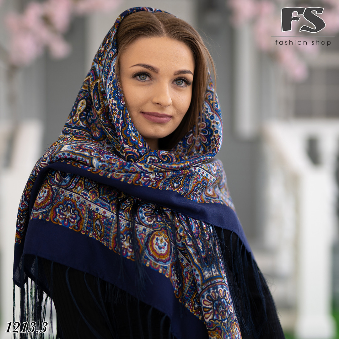 Синий павлопосадский шерстяной платок Регина