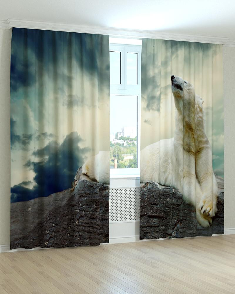 Фотошторы білий ведмідь