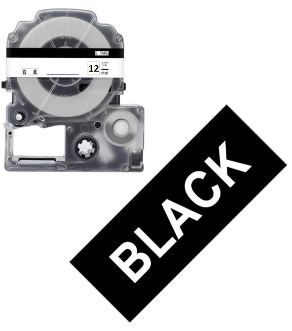 Лента для принтера этикеток Epson LabelWorks LK4BWV Vivid White/Black 12/8 (C53S654009)