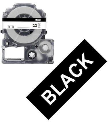 Лента для принтера этикеток Epson LabelWorks LK4BWV Vivid White/Black 12/8 (C53S654009), фото 2