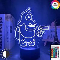 3D Ночник Among Us Светильник Амонг Ас с Пультом Управления 16 цветов Лампа Амонг Ас Космонавт с Питомцем