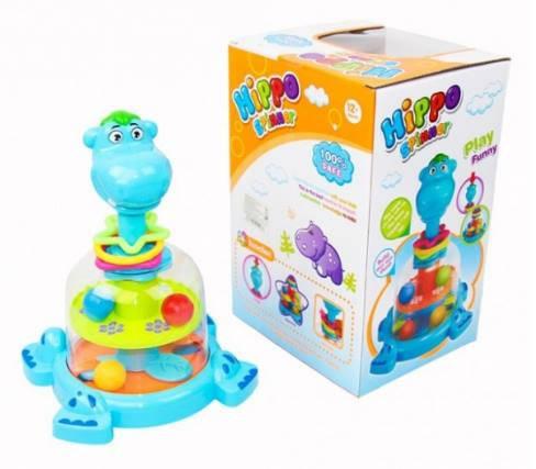 Юла детская музыкальная Бегемот, развивающая игрушка для детей от 1 года, SL83059