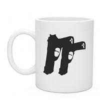 Чашка белого цвета с Пистолеты, печать на чашках недорого