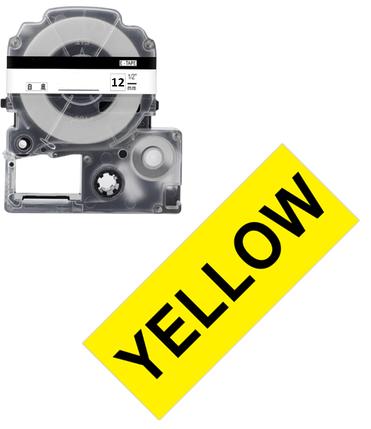 Лента для принтера этикеток Epson LabelWorks LK4YBP Pastel Blk/Yell 12/8 (C53S654008), фото 2