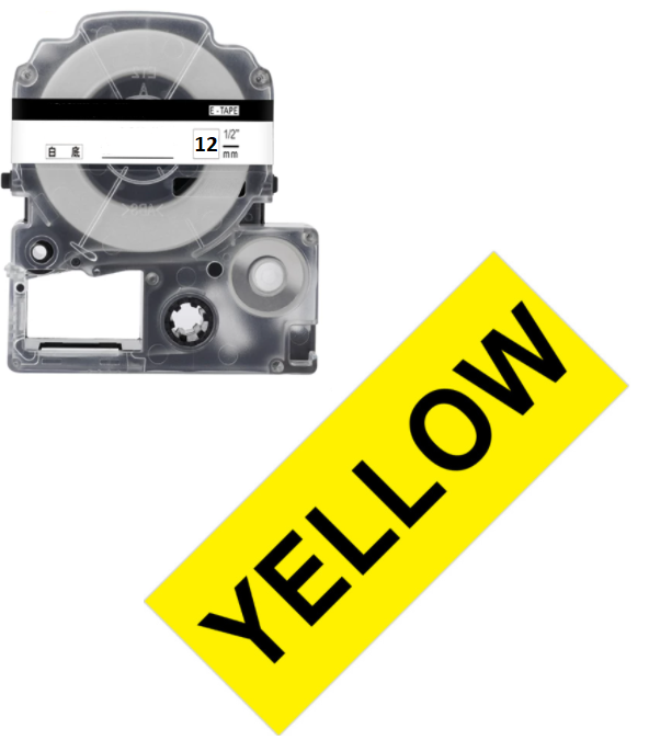 Лента для принтера этикеток Epson LabelWorks LK4YBW Strng adh Blk/Yell 12/8 (C53S654014)