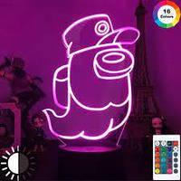 3D Ночник Among Us Светильник Амонг Ас с Пультом Управления 16 цветов Лампа Амонг Ас Космонавт Привидение