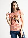 2570-2 рожева футболка жіноча з принтом (3 од. розміри: S. M. L), фото 2