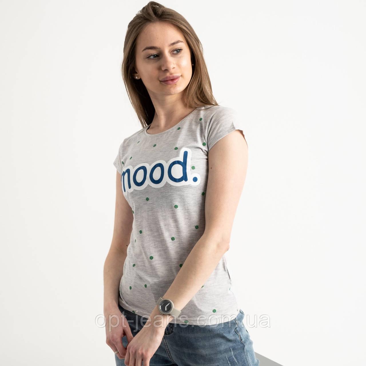 2588-5 Geso серая футболка женская с принтом (4 ед. размеры: S.M.L.XL)
