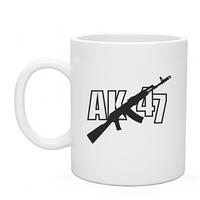 Чашка белого цвета подарочная, печать на чашках АК-47