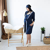 """Кружевной комплект халат с ночной рубашкой для кормящих мам """"Blue"""" р.44-52"""