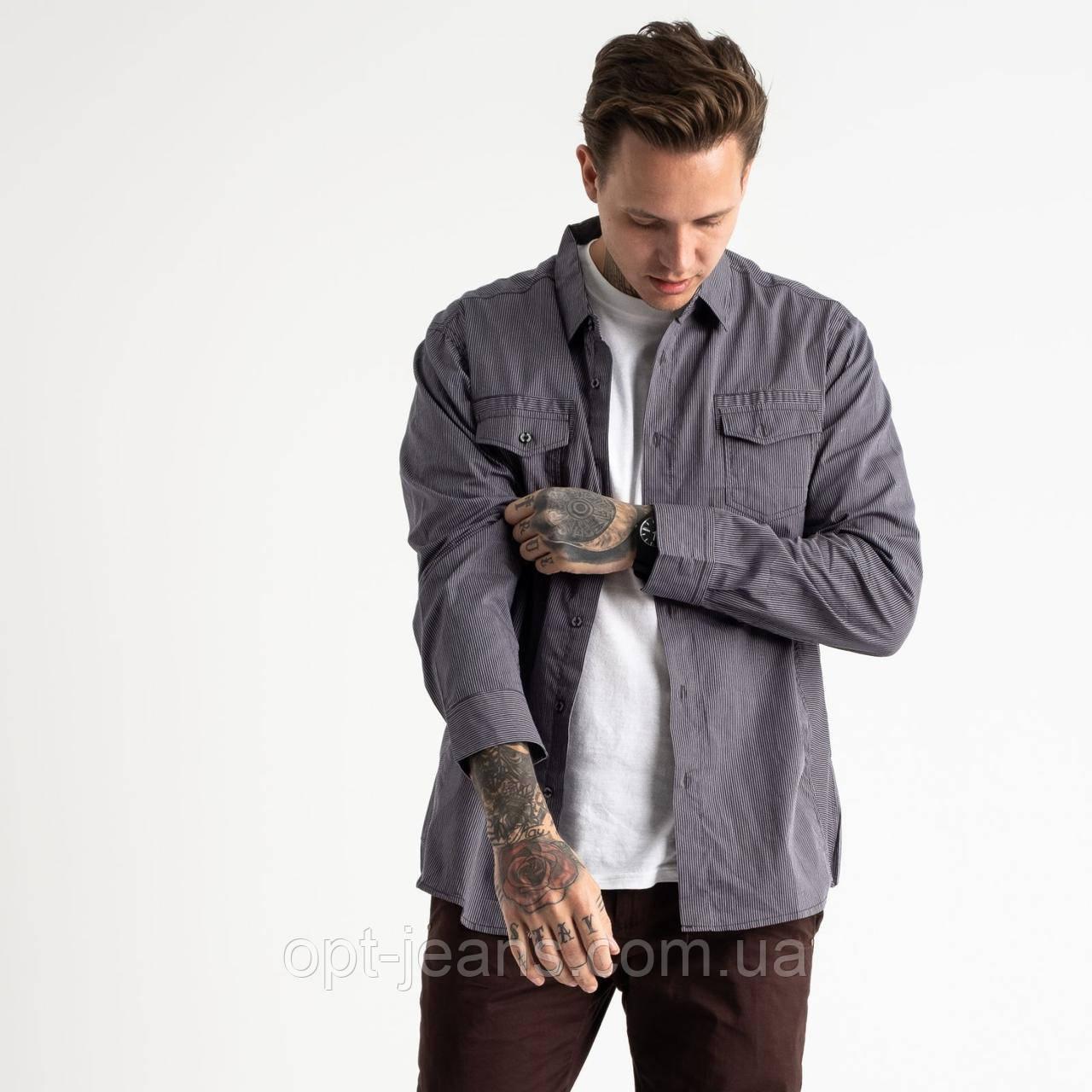 1921 Bertigo серая рубашка мужская в полоску (5 ед. размеры: S.M.L.XL.2XL)