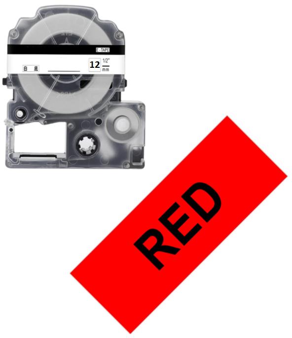 Лента для принтера этикеток Epson LabelWorks LK4RBP Pastel Blk/Red 12/8 (C53S654007)