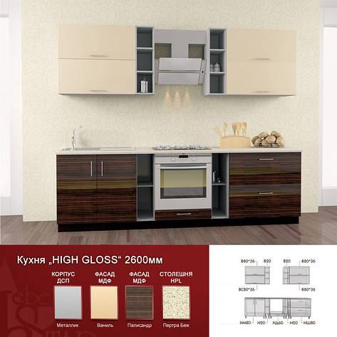 Кухня комплектная High Gloss прямая 2,6 м, фото 2
