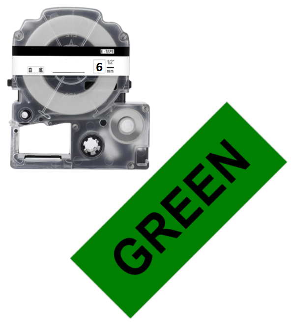 Лента для принтера этикеток Epson LabelWorks LK2GBP Pastel Blk/Green 6/8