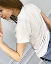 2500-10 Akkaya біла футболка жіноча з принтом стрейчева (4 од. розміри: S. M. L. XL), фото 4